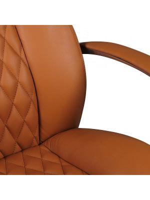 24Designs Santino Bureaustoel - Cognac Leer - Aluminium Kruispoot met Wielen