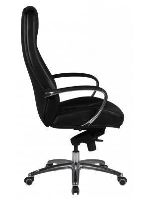24Designs Santino Bureaustoel - Zwart Leer - Aluminium Kruispoot met Wielen