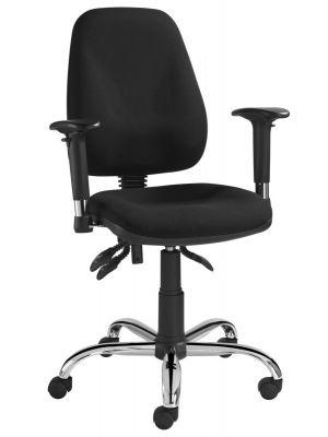 24Designs SEM Home Office Bureaustoel - Zwarte Stof - Chromen Kruispoot met Wielen
