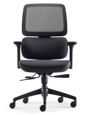 24Designs Sigma ERGO-4 Ergonomische Bureaustoel - Zwarte Stof/Mesh - Zwart Onderstel