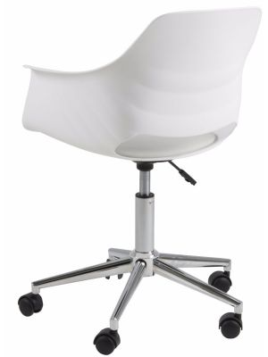 24Designs Tretan Bureaustoel - Kunststof Witte Kuipzitting - Zitkussen Wit