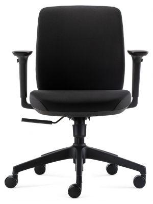 24Designs Vesta ECO-1 Bureaustoel - Zwarte Stof - Zwarte Kruispoot met Wielen