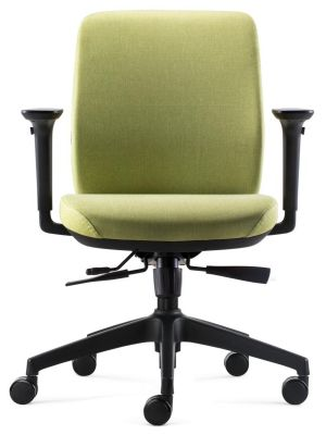24Designs Vesta ERGO-4 Ergonomische Bureaustoel EN1335 - Groene Stof - Zwart Onderstel