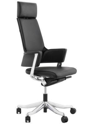 24Designs Lido Bureaustoel - Leer Zwart - Aluminium Onderstel