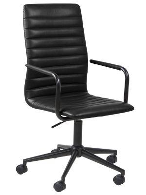 24Designs Winston Bureaustoel - Kunstleer Zwart - Zwart Onderstel met Wielen