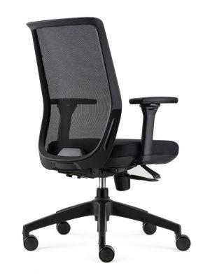 24Designs Work ERGO-4 Ergonomische Bureaustoel EN1335 - Zwarte Stof/Mesh - Zwart Onderstel
