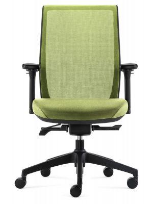 24Designs Work SYNCHRO-4 Ergonomische Bureaustoel EN1335 - Groene Stof/Mesh - Zwart Onderstel