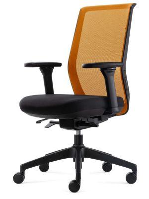 24Designs Work SYNCHRO-4 Ergonomische Bureaustoel - Zwarte Stof/Oranje Mesh - Zwart Onderstel