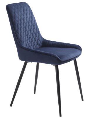 24Designs Carter Stoel - Set van 2 - Fluweel Blauw - Zwart Metaal