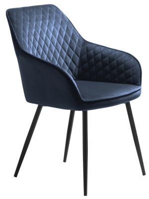 24Designs Carter Stoel Armleuningen - Set van 2 - Fluweel Blauw - Zwart Metaal