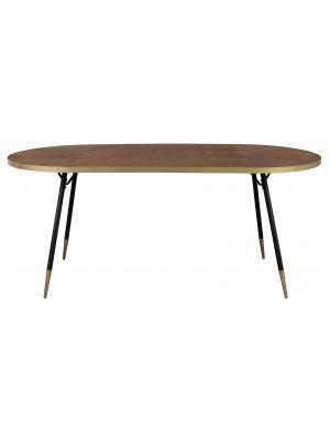 24Designs Celeste Ovale Tafel - 180x90x75 - Hout - Zwarte Metalen Poten
