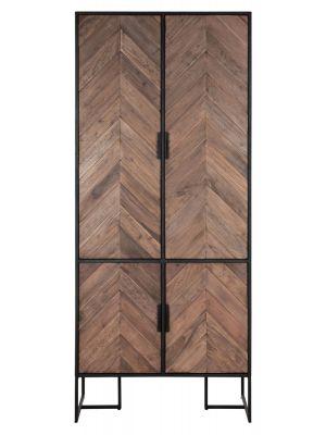 24Designs Criss Cross Opbergkast - B80 x D40 x H185 cm - Zwart/Bruin