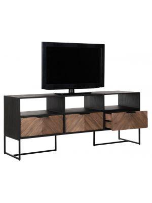 24Designs Criss Cross TV meubel - B150 x D40 x H60 cm - Zwart/Bruin