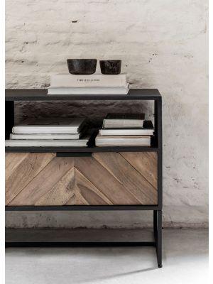 24Designs Criss Cross TV meubel - B180 x D40 x H60 cm - Zwart/Bruin
