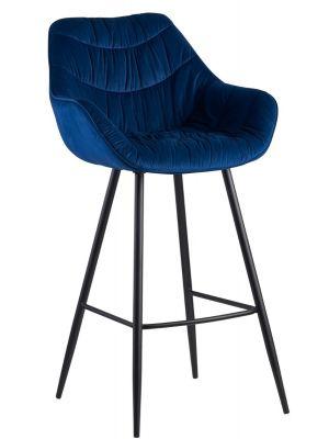 24Designs Dauphine Barkruk Velvet - Zithoogte 75 cm - Blauw Fluweel - Metalen Poten