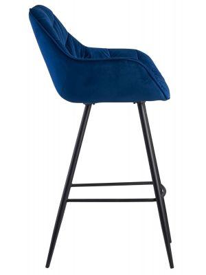 Blauwe-velvet-barkruk-fluweel-zithoogte-75cm