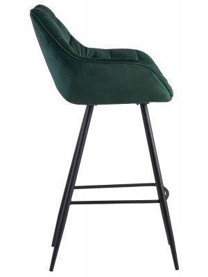 24Designs Dauphine Barkruk Velvet - Zithoogte 75 cm - Groen Fluweel - Metalen Poten