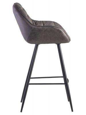 24Designs Dauphine Barkruk - Zithoogte 75 cm - Grijs Kunstleer - Metalen Poten