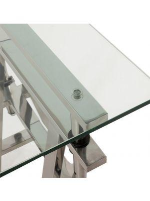 24Designs Wall Street Bureau - L150 x B70 x H64.5/85.5 - Glas met RVS