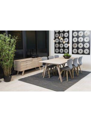 24Designs Bornholm Uitschuifbare Eettafel 210/310x100x74 - Eiken White Wash