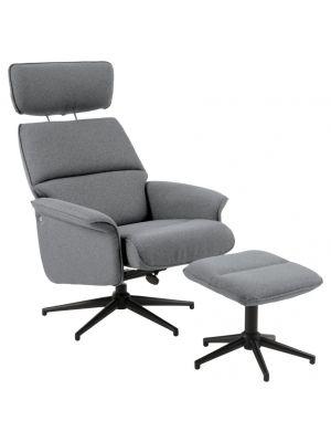 24Designs Ashton Verstelbare Relax Fauteuil + Hocker - B74 x D111 x H102 cm - Stof Grijs