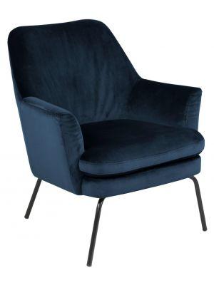 24Designs Lotta Velvet Fauteuil - Donkerblauw Fluweel - Zwarte Metalen Poten