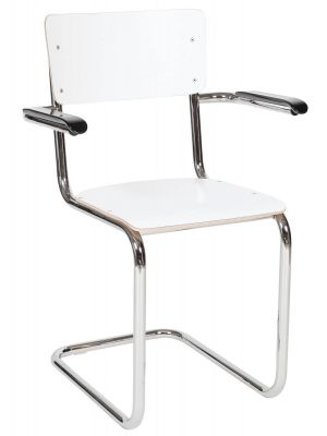24Designs Genius Stoel Armleuningen - Set van 2 - HPL Wit - Chromen Sledeframe