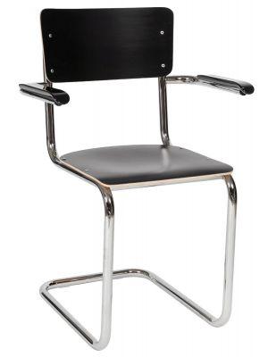 24Designs Genius Stoel Armleuningen - Set van 2 - HPL Zwart - Chromen Sledeframe