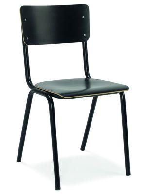 24Designs Genius Stoel - Set van 2 - HPL Zwart - Zwart Metalen 4-Poots Onderstel