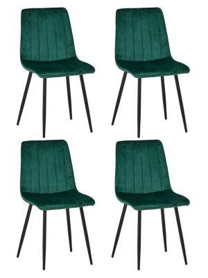 24Designs Gino Velvet Stoel - Set van 4 - Groen Fluweel - Zwarte Metalen Poten