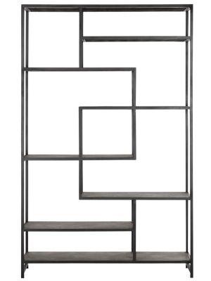 24Designs Harmony Boekenkast - 120x35x190 - Gerecycled leer - Zwart Metalen Frame
