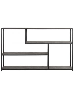 24Designs Harmony Dressoir - 150x35x90 - Gerecycled Leer - Zwart Metalen Frame