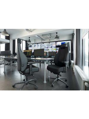 24Designs InControl 24-uurs Ergonomische Bureaustoel - NEN EN 1345 - Zwart Leer - Aluminium Onderstel