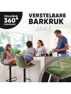 24Designs Verstelbare Barkruk Jake - Mosgroen Vintage Kunstleer - Zwart Onderstel