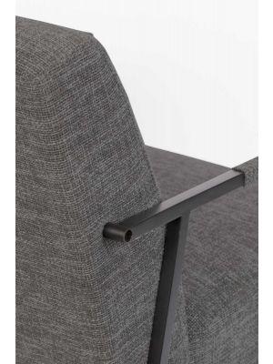 24Designs Jamie Fauteuil - Stof Donkergrijs - Zwart Metalen Frame