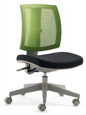 24Designs Kinderbureaustoel Flexis - Stof Groen/Zwart - Grijze Kruispoot