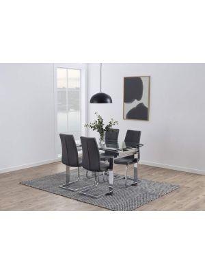 24Designs Lasalle Stoel - Set van 2 - Kunstleer Grijs - Chromen Sledeframe