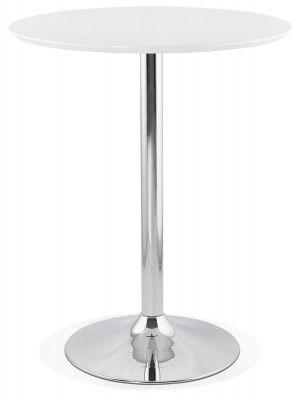 24Designs Lennox Statafel H110 cm - Rond Ø90 cm Wit Tafelblad - Chroom