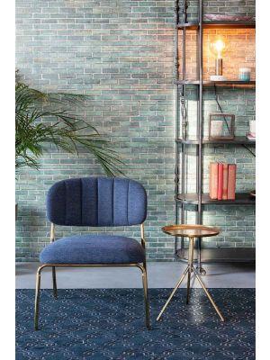24Designs Arliss Lounge Fauteuil - Set van 2 - Stof Donkerblauw - Goudkleurig Metaal