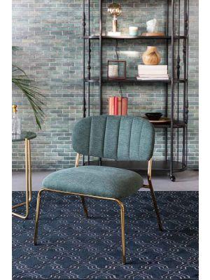 24Designs Arliss Lounge Fauteuil - Set van 2 - Stof Lichtgroen - Goudkleurig Metaal