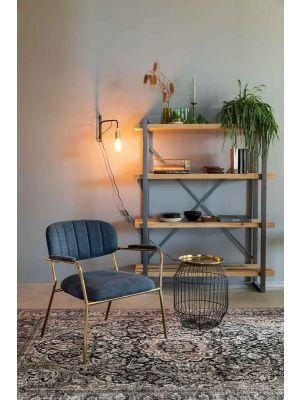 24Designs Arliss Lounge Stoel Armleuningen - Set van 2 - Stof Donkerblauw - Goudkleurig Metaal