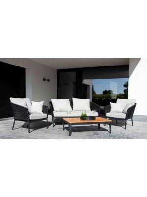 24Designs Bilbao Loungeset inclusief Salontafel - Antracietgrijs Textileen