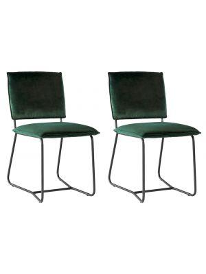 24Designs Maya Eetkamerstoel – Set van 2 – Fluweel Groen – Zwart Stalen Frame
