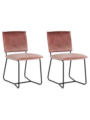 24Designs Maya Eetkamerstoel – Set van 2 – Fluweel Roze – Zwart Stalen Frame