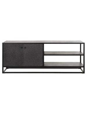 24Designs Mont Ventoux TV-Meubel - 140x40x50 - Donkergrijs Bazalt - Metalen Frame