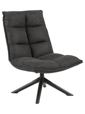 24Designs Mylo Draaibare fauteuil - Stof Antraciet - Mat Zwart Onderstel