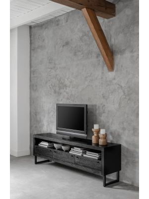 24Designs Night TV-Meubel 3-Laden - 180x40x57 - Zwart Mindi Hout