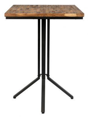 24Designs Nolan Statafel Vierkant 75 x 75 x Hoogte 110 cm - Teakhout Naturel - Zwart Metalen Onderstel