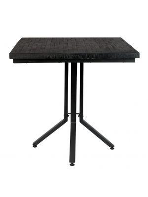 24Designs Nolan Eettafel Vierkant 75x75x77 - Teakhout Zwart - Zwart Metalen Onderstel