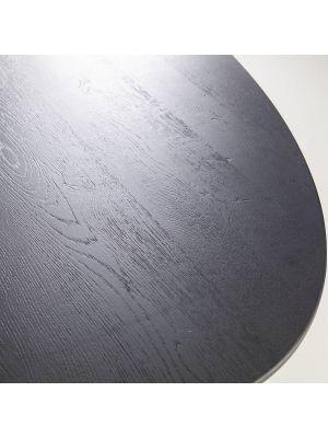 24Designs Oakville Ovale Eettafel 300x120x75 - Zwart Houten Tafelblad - Metalen Onderstel